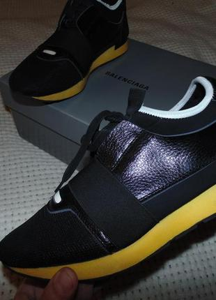 Черные кожаные кроссовки race runner от balenciaga оригинал италия