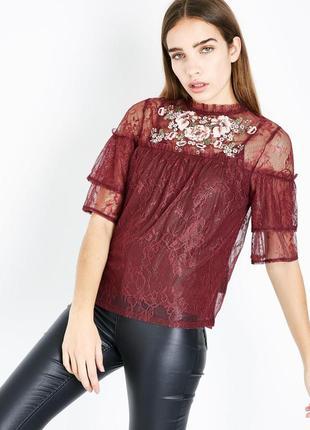 Гипюровая блуза с вышивкой  new look,р-р 10