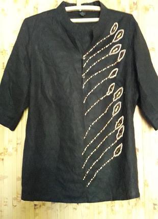 Льнаная рубашка блузка с вышивкой пайетки