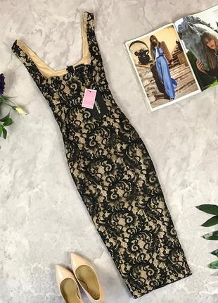 Нарядное гипюровое платье длины миди   dr1922019 prettylittlething