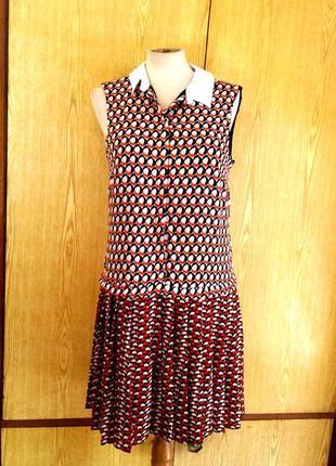 Тоненькое яркое крепдешиновое платье с юбкой в складочку, м.