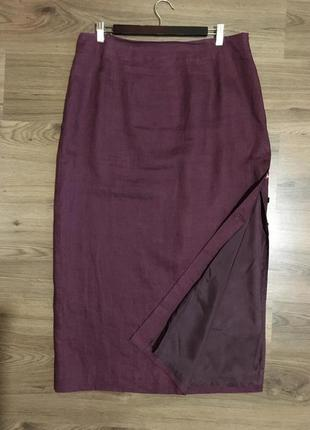 Лёгкая льняная юбка с разрезом ,цвет марсала!!