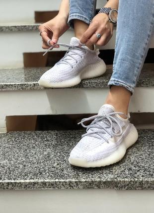 Шикарные женские кроссовки adidas yeezy boost 350 static полностью рефлективные
