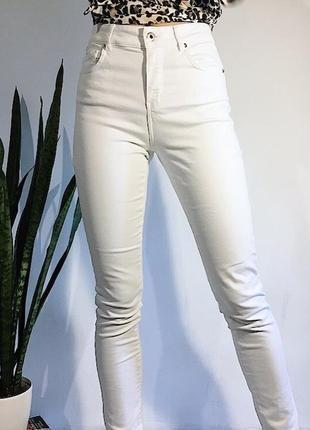 Белые джинсы / брюки / штаны / высокая талия / посадка