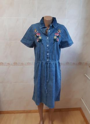 Джинсовое платье  olko с вышивкой
