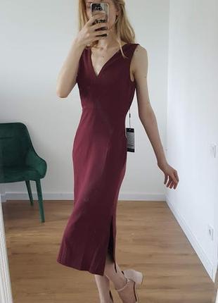 Шикарное элегантное платье бордовое деловой офисный стиль осенее демисезонное