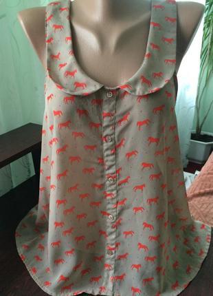 Блуза, майка  с интересным принтом/ xl