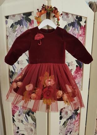 Велюровое платье на 2года