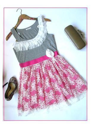 S- justor- легчайшее дизайнерское платье кружево+трикотаж, вискоза +хлопок, италия, новое