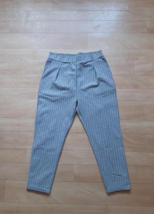 Трикотажные брюки штаны colin's серого цвета в белую полоску
