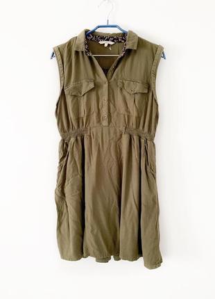 Платье хаки, платье рубашка