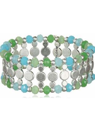 Стильный летний широкий браслет-резинка зелено-голубой дания pilgrim