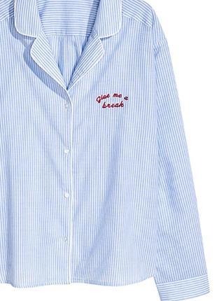 Оригинальная пижамная рубашка от бренда h&m разм. s3 фото