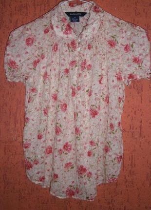 Нежная блузка тонкий хлопок цвета розы с коротким рукавом пудровая розовая