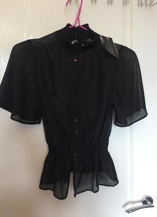 Топ, блуза, тонкая, серебряная нить, прозрачная, new look