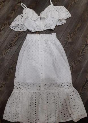 Костюм юбка миди топ кроп с воланами прошва хлопковый нарядный белый красивый