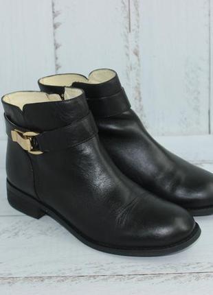 Buffalo london кожаные ботинки на низком ходу с золотой фурнитурой