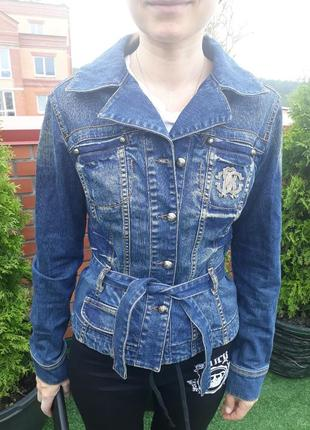 Брендовый джинсовый пиджак roberto cavalli, оригинал джинсовка на запах