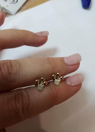 Классные модные серьги серебро с золотыми напайками