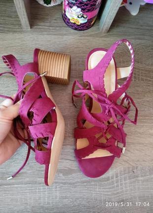 Скидка!бордо/марсала босоножки на шнуровке 👡peacocks,размер 4(37)