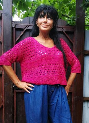 Джемпер летний пуловер кофта короткий ажурный в дырочку вязаный с люрексом золотистым g21