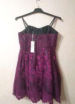 Фиолетовое нарядное корсетное платье на праздник новый год держит форму debenhams р 10 m2 фото