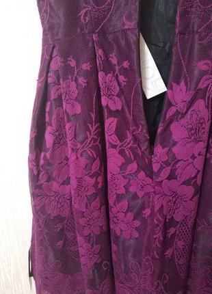 Фиолетовое нарядное корсетное платье на праздник новый год держит форму debenhams р 10 m3 фото
