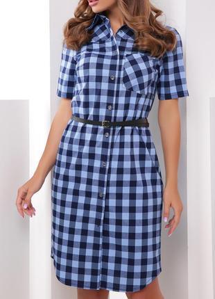 Коттоновое/хлопковое летнее платье-рубашка в клетку с поясом (42,44,46,48,50/5 цветов)