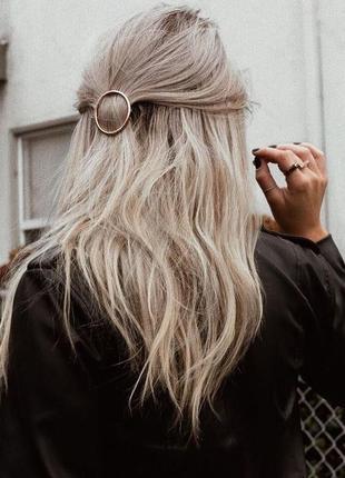 Круглая заколка для волос, кругла заколка, золотистая заколка, золотиста, для волосся