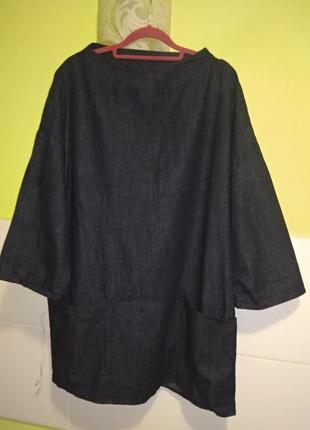 Джинсовое платье прямого кроя стиль оверсайз zara