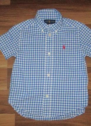 Голубенькая котоновая в клетку рубашечка фирмы ральф лаурен на 3-4 года