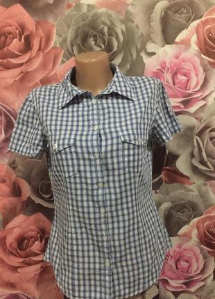 Крутая,хлопковая,тонкая рубашка с коротким рукавом в клетку ,на 44-46 р