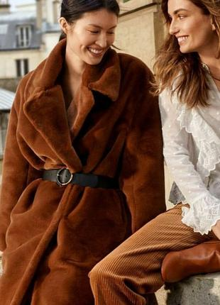 Женская шуба h&m коричневого цвета