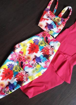 Костюм комплект юбка карандаш миди и топ цветочный принт маленький размер