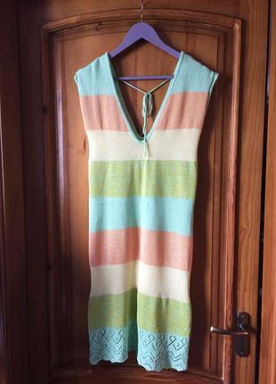 Летнее натуральное платье тонкой вязки made in italy