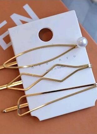 Набор из 3 заколок для волос шпильки с жемчугом