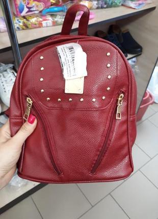 Красный бордовый рюкзак с заклепками