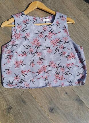 Укороченный топ, кроп топ, шифоновый топ, блуза в цветы, топ в цветы