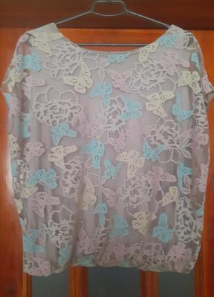 Блуза в пастельных тонах органза на натуральном трикотажном подкладе размер 50-52