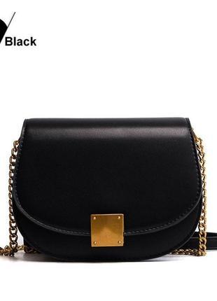 Новая невероятная черная сумка на плечо сумочка клатч на цепочке