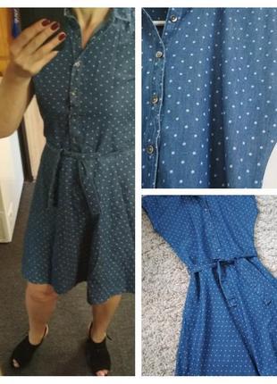 Актуальное джинсовое лёгкое платье в горох, here there, p. 6-10
