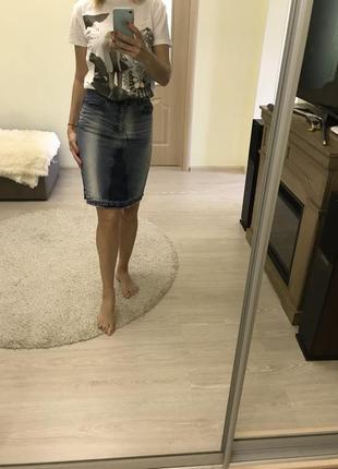 Юбка джинсовая с высокой талией zara