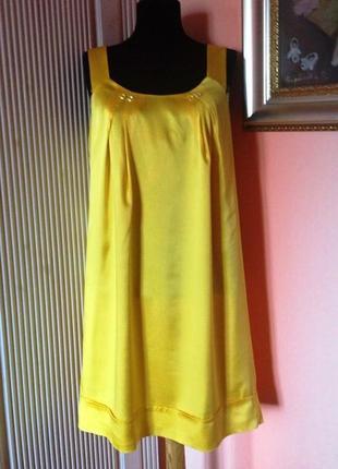 """Французское платье-кокон """"bgn"""" шелковое лимонного цвета - м/l"""