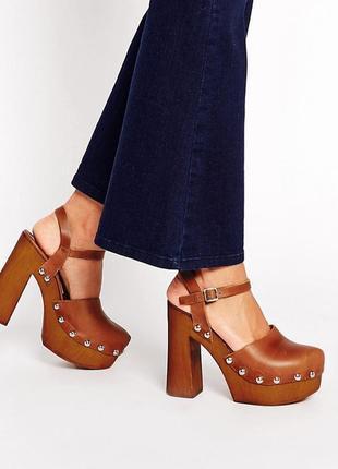 Натуральная кожа! туфли сабо босоножки asos orla на каблуке в стиле 70х