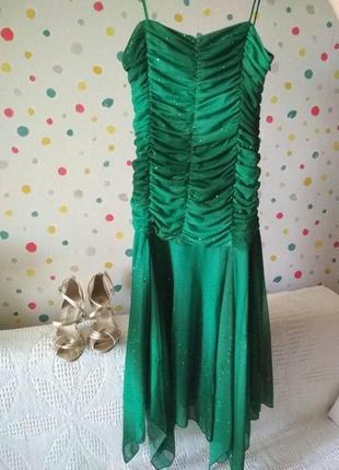 Зеленое платье для танцев + босоножки   / плаття +босоніжки для танців