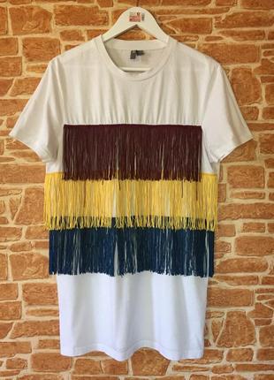 Уздовжена футболка-туніка з колоровою бахрамою asos,розмір м-л