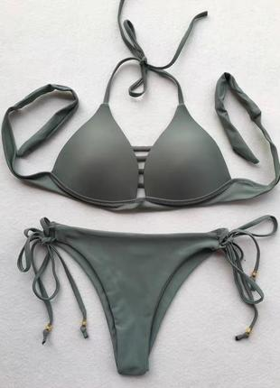 Купальник раздельный плавки бразилиана цвет хаки4 фото