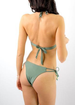 Купальник раздельный плавки бразилиана цвет хаки2 фото