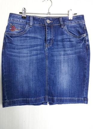 Синяя джинсовая юбка-мини