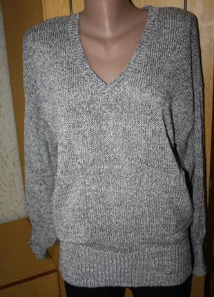 Серый меланжевй пуловер карманы, ид. сост.